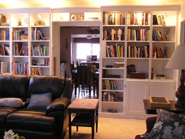 Built-in whole-wall bookcase
